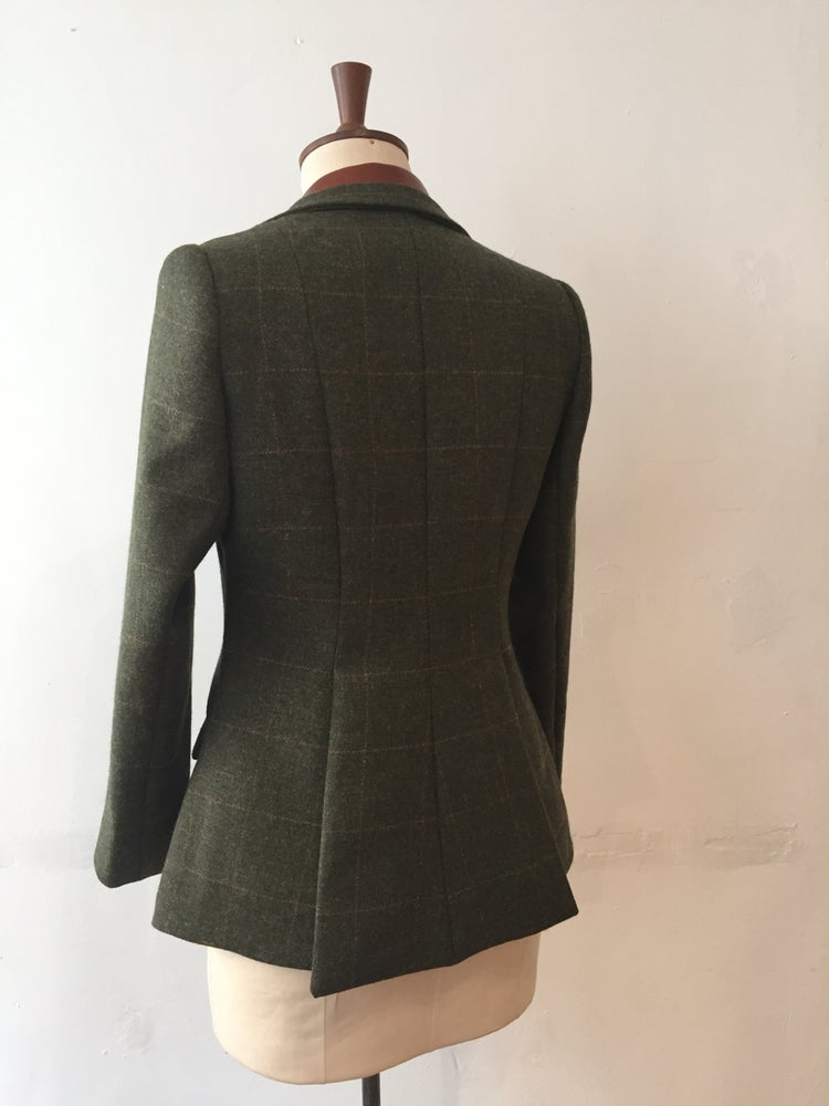 Image of Tweed and leather hacking jacket