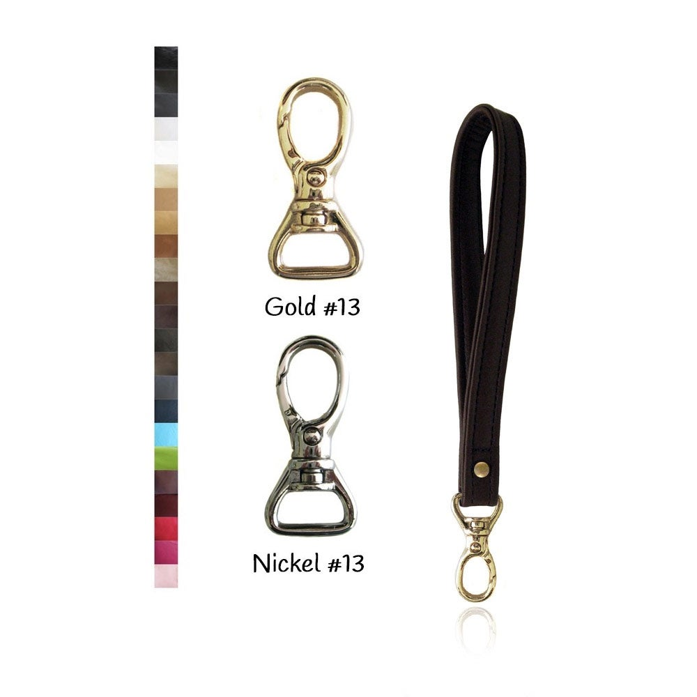 Image of Leather Wristlet Strap WIDE with GOLD or NICKEL #13 Swivel Snap Hook - Your Choice of Leather Color