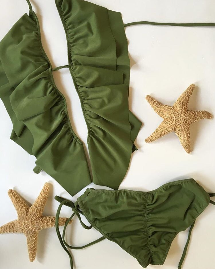 Image of Sale bikini ruffle triangle olive green s/m last one