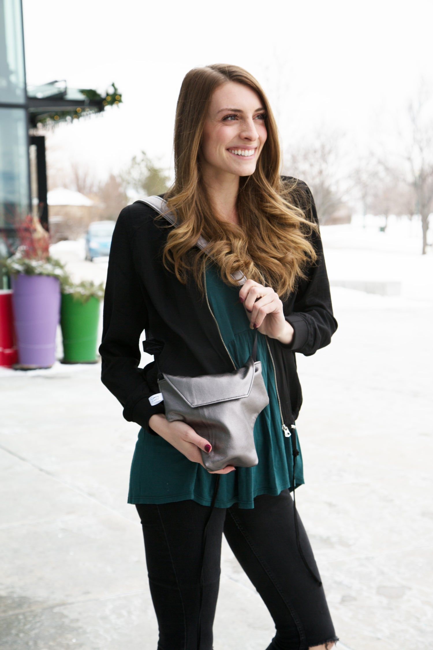 "Image of Cute Camera Bags for Women | Metallic ""Lightning"" Leatherette Camera Coat"