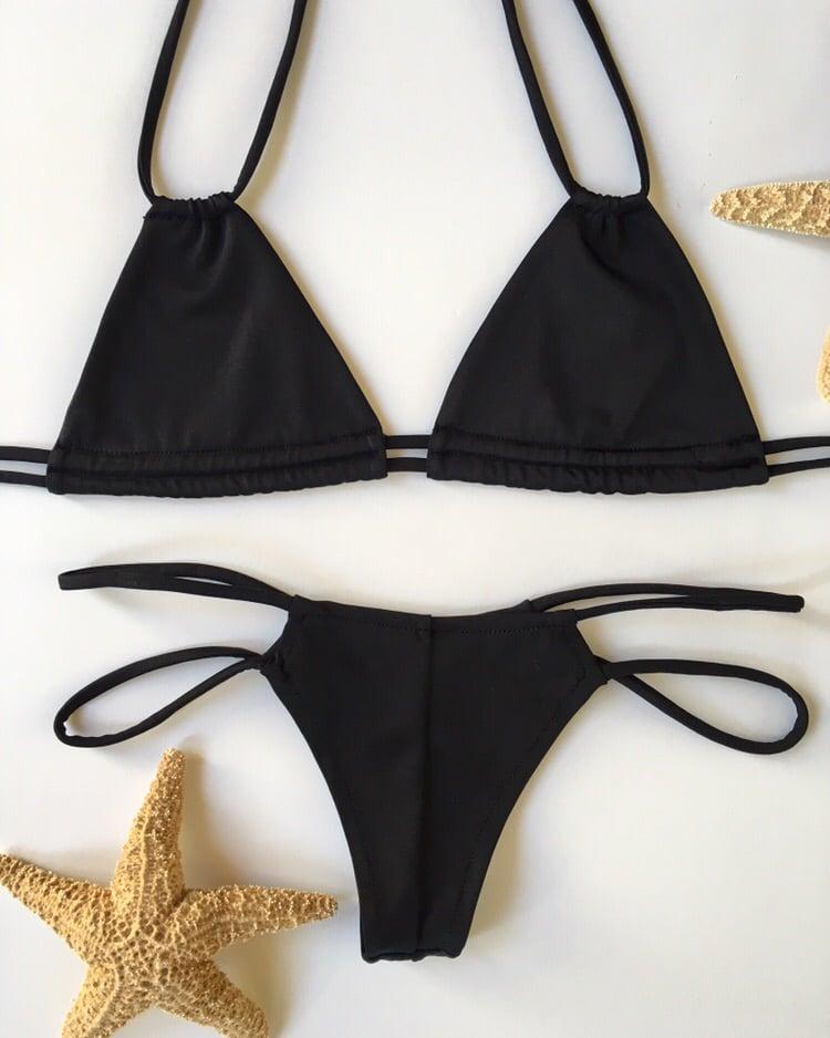 Image of Skinny strings solid black bikini