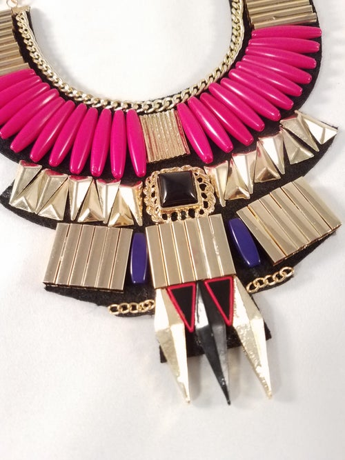 Image of Red & Gold Bib Necklace