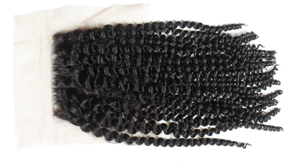 """Image of """"Kinky, Curly Dreams Come True"""" 4x4 Lace Closure"""