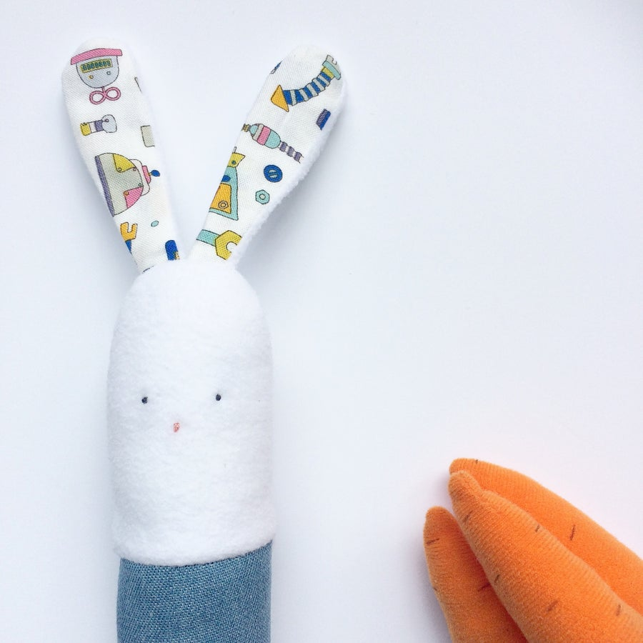 Image of Vinty Bunny Rattle Choose Your Fabric