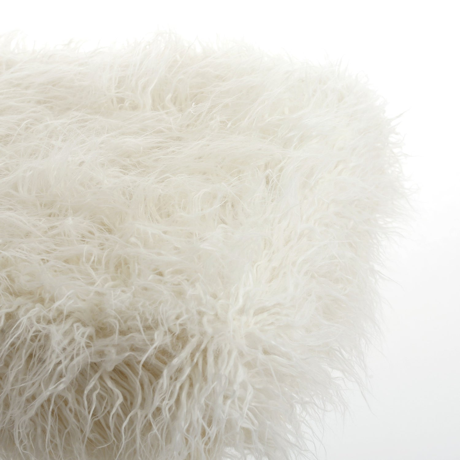 Image of FRISCO MONGOLIAN SHEEPSKIN FAUX FUR PILLOW STONE WHITE