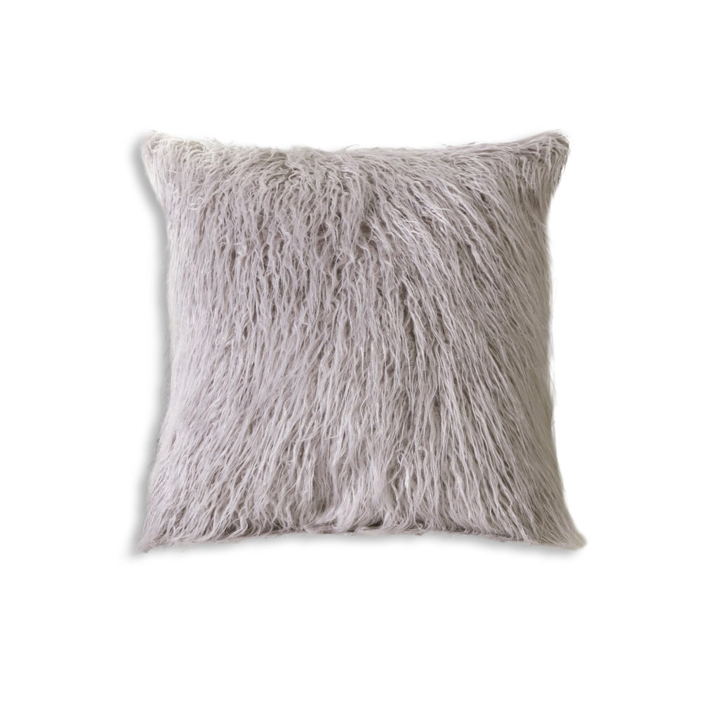 Image of FRISCO MONGOLIAN SHEEPSKIN FAUX FUR PILLOW SAGE GREY