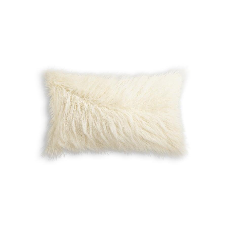 "Image of FRISCO MONGOLIAN SHEEPSKIN FAUX FUR PILLOW STONE WHITE 12"" X 20"""