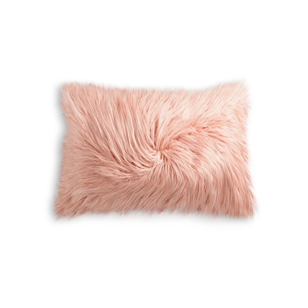"Image of FRISCO MONGOLIAN SHEEPSKIN FAUX FUR PILLOW DUSTY ROSE 12"" X 20"""