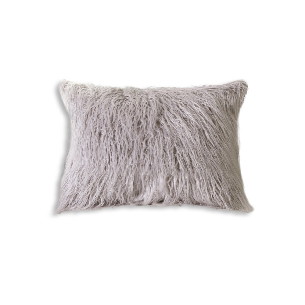 "Image of FRISCO MONGOLIAN SHEEPSKIN FAUX FUR PILLOW SAGE GREY 12"" X 20"""