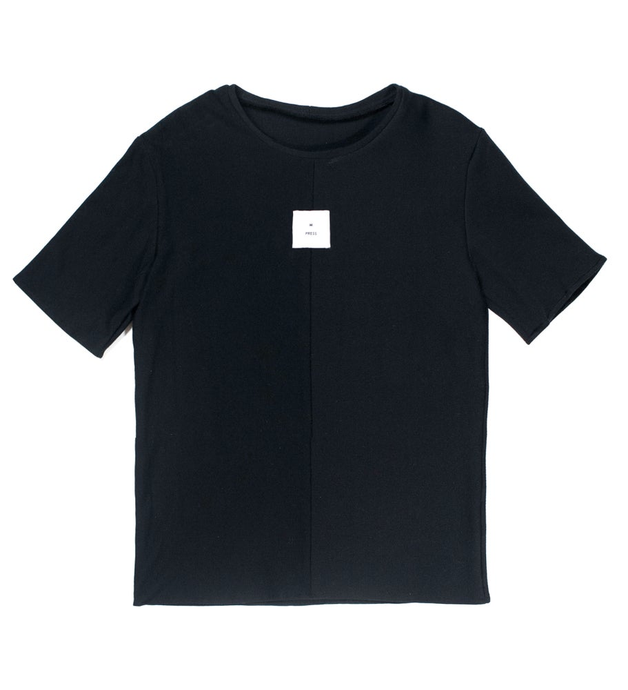 Image of Black Dual Material T-shirt