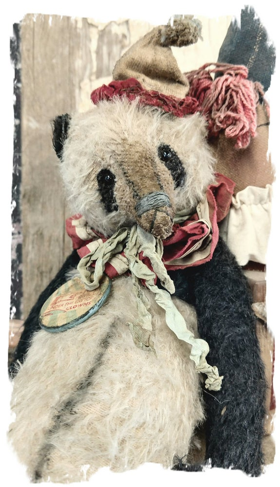 "Image of Antique Style 11.5"" Mohair PANDA Bear - antique textiles/vintage charm * By Whendi's Bears"