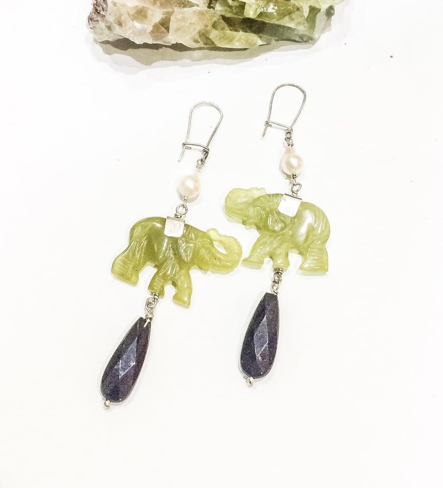 Image of Prehinite, Onyx and Freshwater Pearl Elephant Earrings