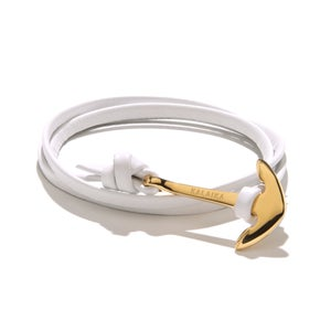 Image of GOLD ANCHOR LEATHER<br>WRAP BRACELET