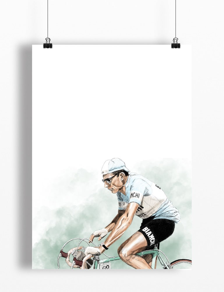 Image of Fausto Coppi print A4 or A3 - By Jason Marson