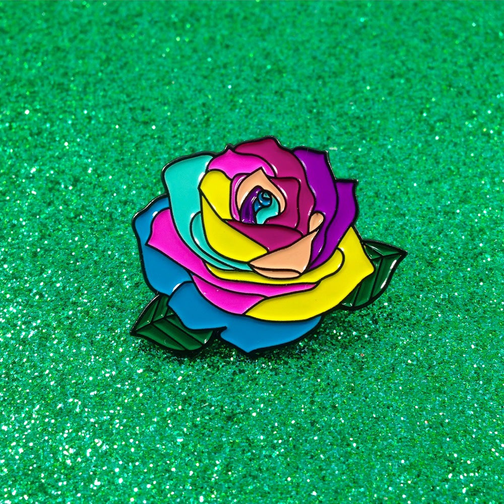 Image of Rainbow Rose Enamel Pin