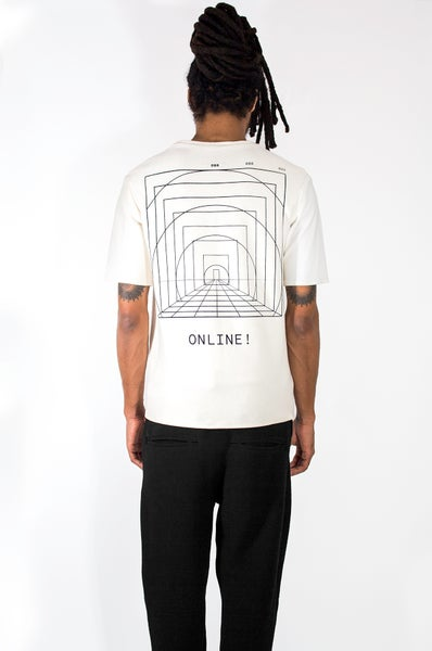 Image of White Dual Material T-shirt
