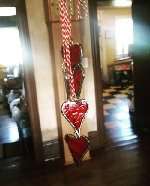 Image of String of Hearts-stained glass