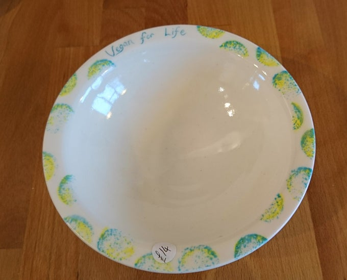 Image of Vegan message Porcelain bowl - 'Vegan for Life' plus 3 more options
