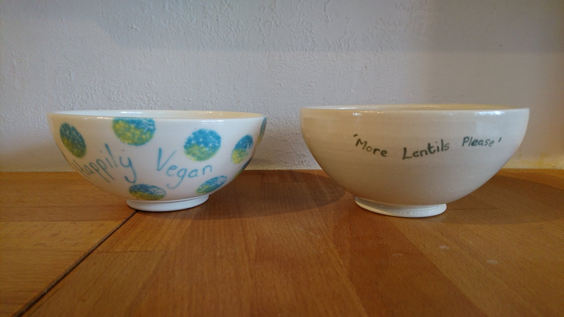 Image of Porcelain 'Happily Vegan'  (Stoneware bowl 'More lentils please' SOLD OUT)