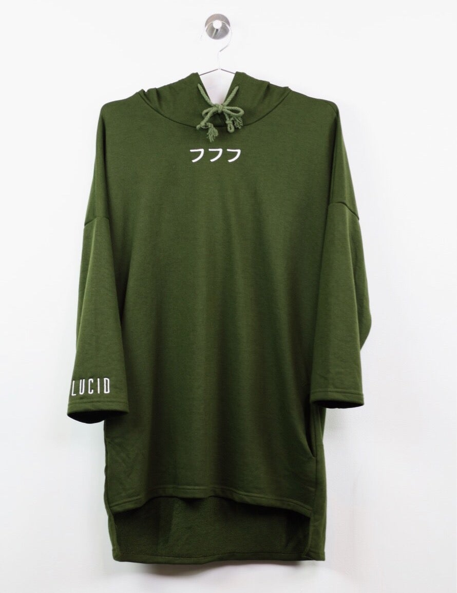 Image of 3/4 SLEEVE EXTENDED HOODIE - OLIVE