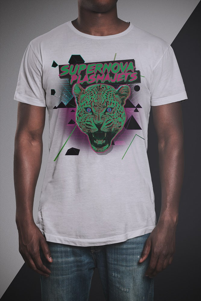 "Image of Supernova Plasmajets T-Shirt ""Leopard"" white"