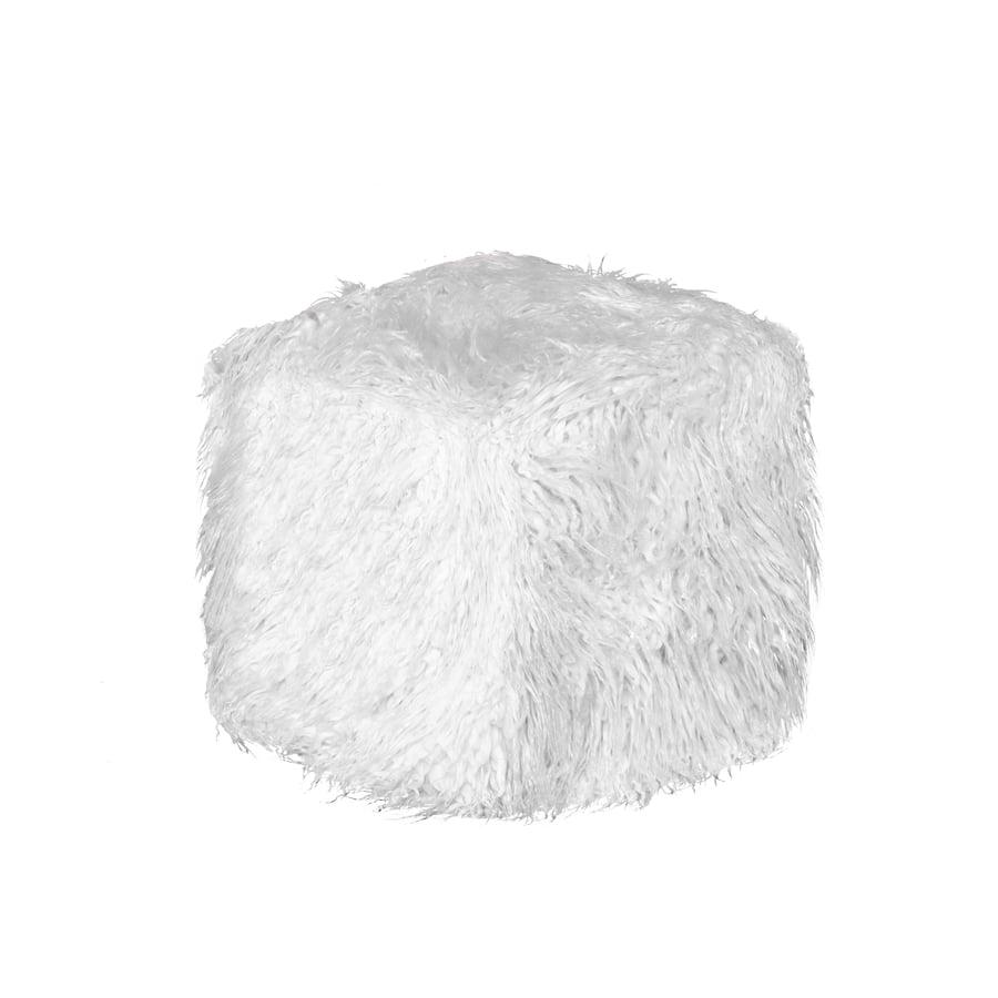 Image of 676685041630 EL PASO MONGOLIAN SHEEPSKIN FAUX FUR POUF 16 X 17 - STONE WHITE
