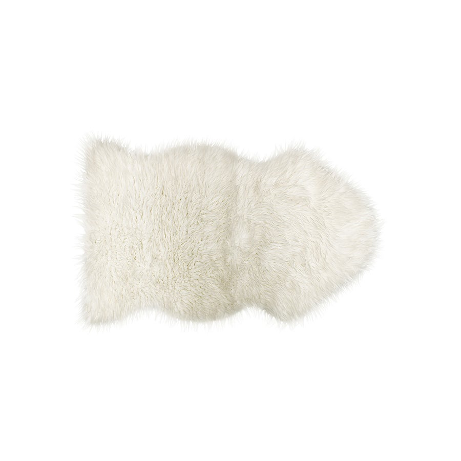 Image of 676685029706 ROYALE GORDON FAUX SHEEPSKIN THROW 2'X3' OFF WHITE