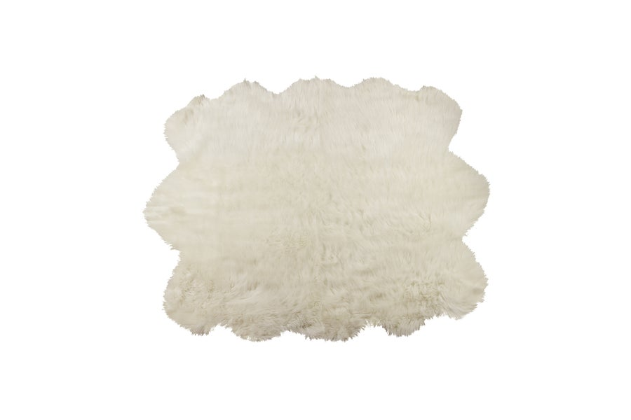 Image of 676685040992 ROYALE GORDON FAUX SHEEPSKIN FUR RUG SEXTO 5' X 6'  OFF WHITE