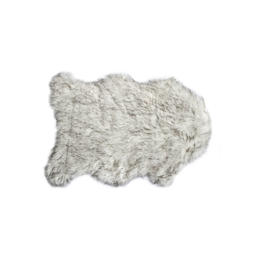 Image of 676685029720 GORDON FAUX SHEEPSKIN THROW 2'X3' GRADIENT GRAY