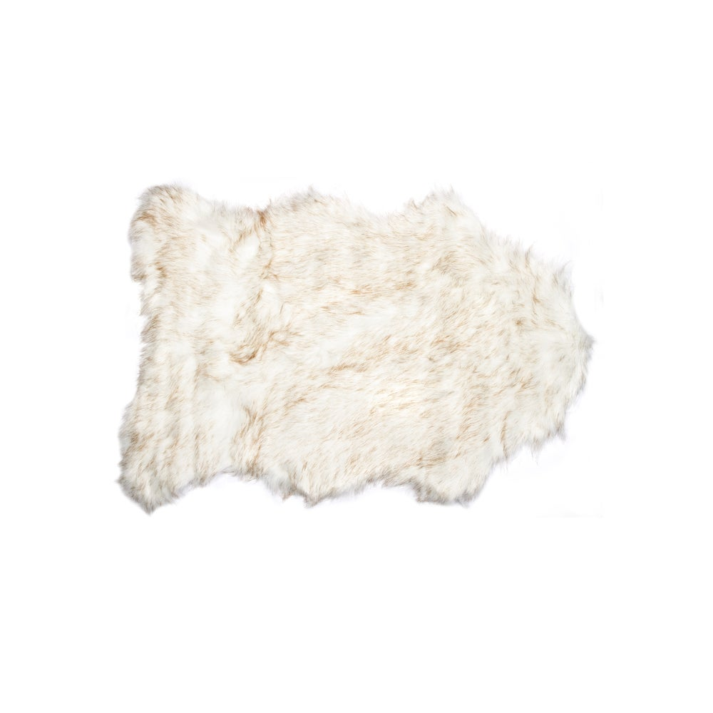 Image of 676685029737 GORDON FAUX SHEEPSKIN THROW 2'X3' GRADIENT TAN