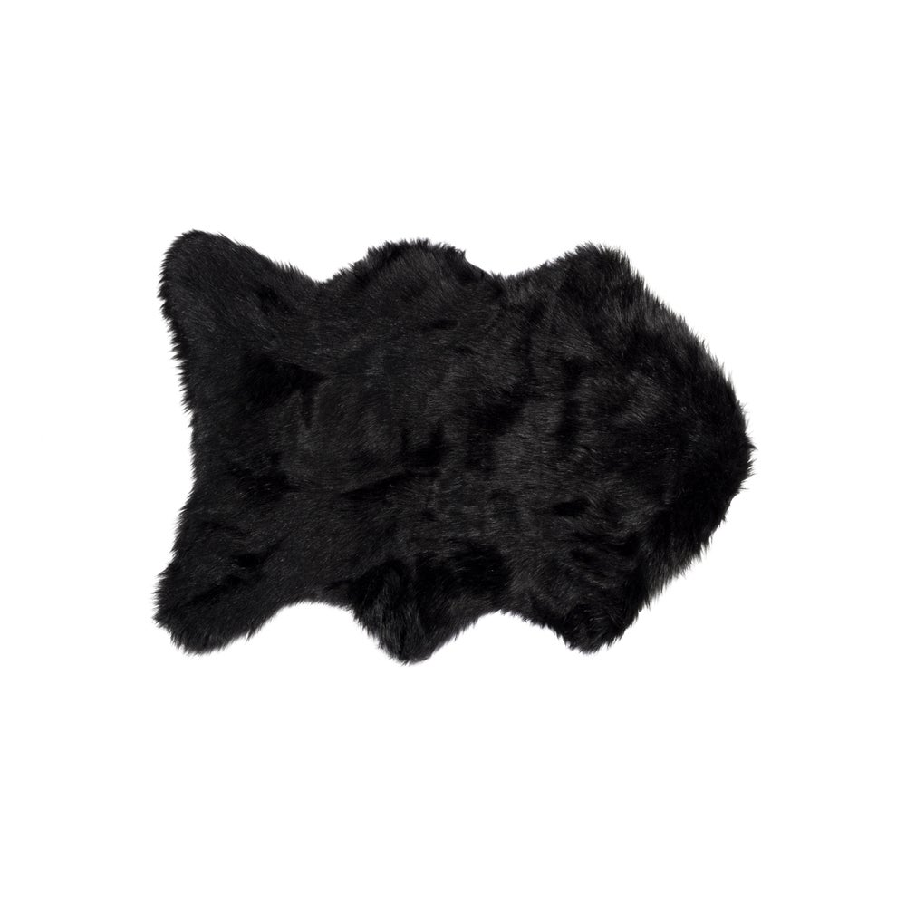 Image of 676685029744 GORDON FAUX SHEEPSKIN THROW 2'X3' BLACK