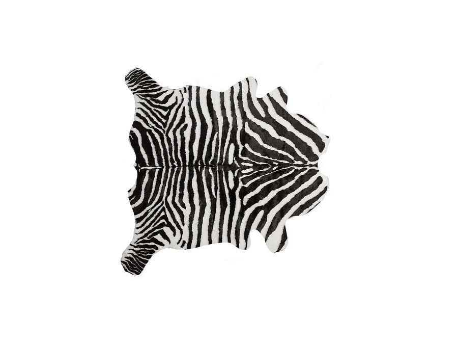Image of EL PASO FAUX COWHIDE RUG -THROW 6'X7' ZEBRA BLACK WHITE