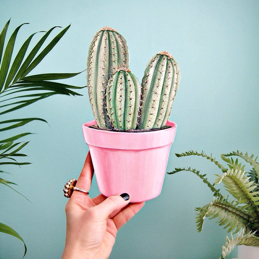 Image of Potted Cactus plaque