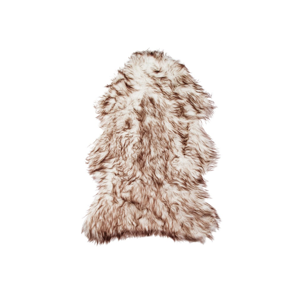 Image of 676685041494 GORDON FAUX SHEEPSKIN RUG 2' X 3' - GRADIENT CHOCOLATE