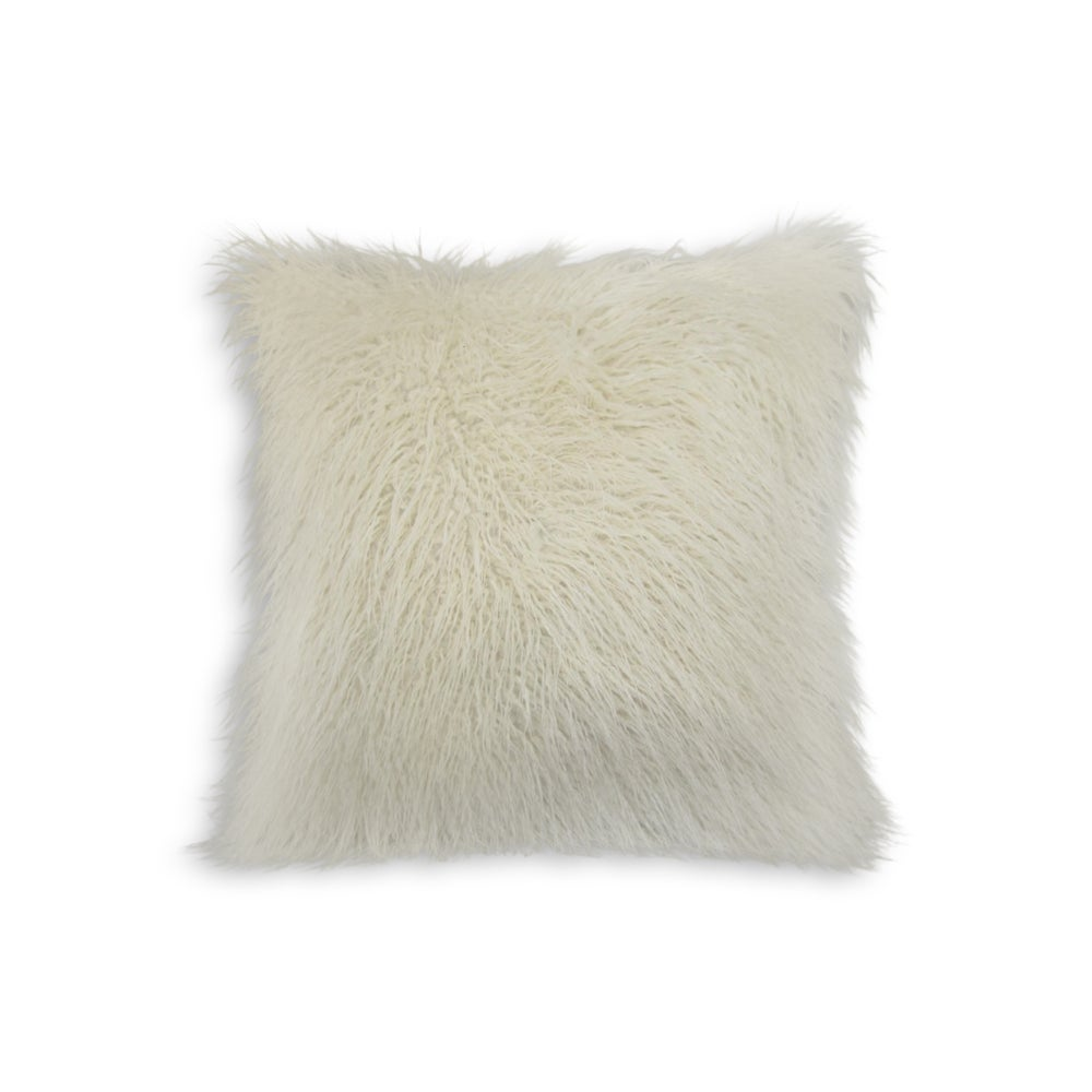 Image of 676685041531 FRISCO MONGOLIAN SHEEPSKIN FAUX PILLOW TONE WHITE
