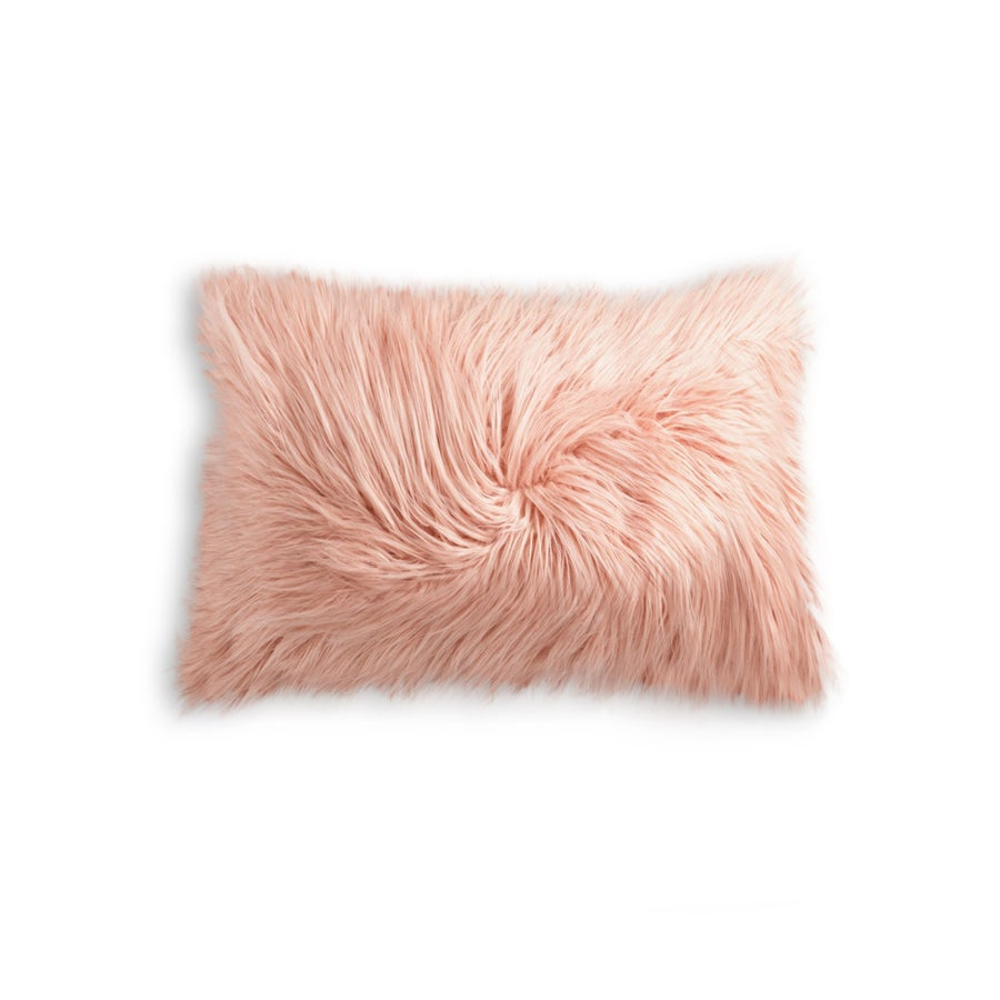 Image of 676685041609 FRISCO MONGOLIAN SHEEPSKIN FAUX PILLOW DUSTY ROSE 12x20