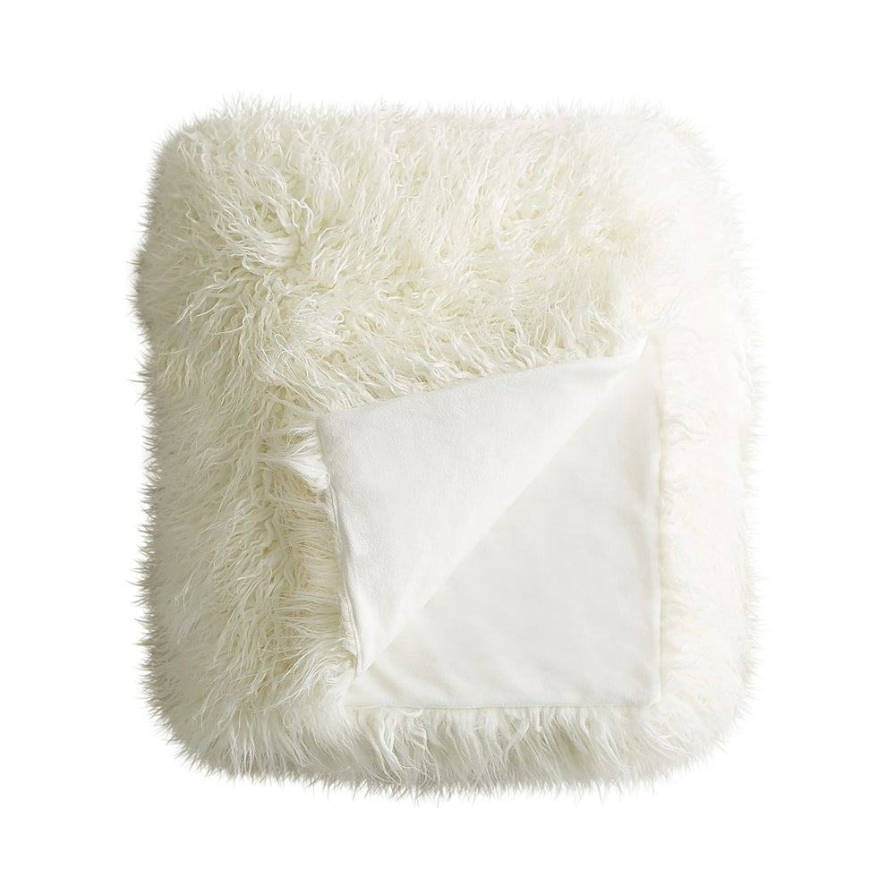 Image of 676685041685 PLANO MONGOLIAN SHEEPSKIN FAUX FUR THROW 50X70 STONE WHT