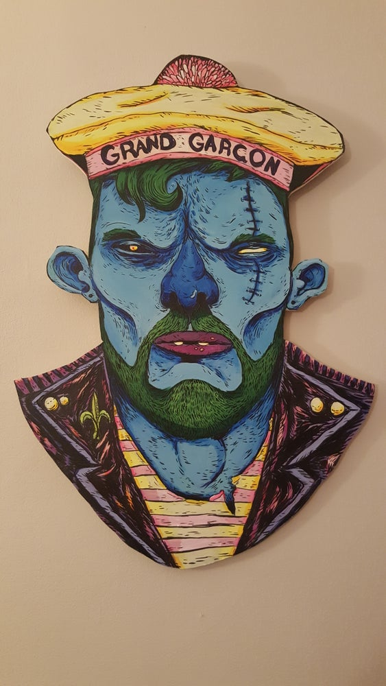 """Image of """"Grand Garcon"""" ghoul portrait on wood"""