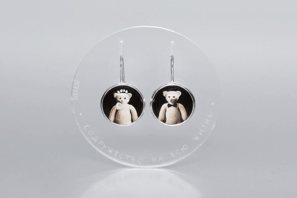 Image of teddy-bear silver earrings with photos, rock crystal CONSORTIUM OMNIS VITAE