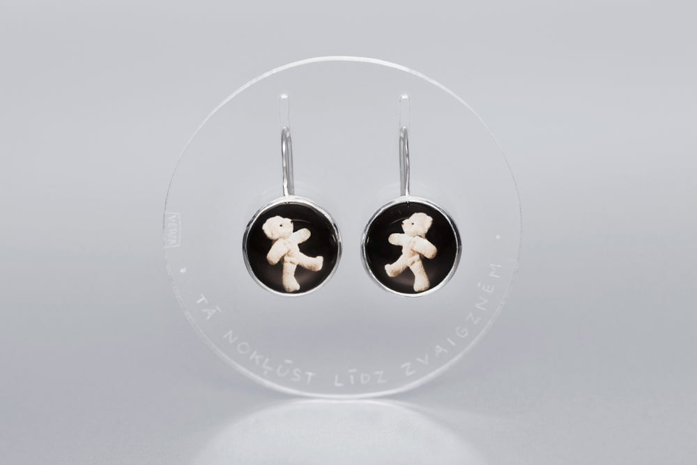 Image of teddy-bear silver earrings with photos, rock crystal SIC ITUR AD ASTRA