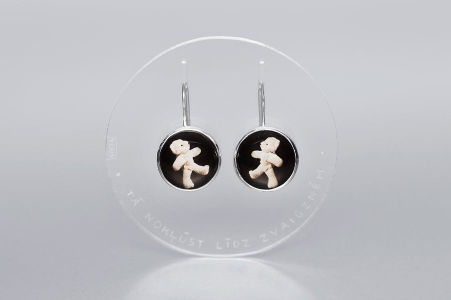 """Image of """"Thus you shall.."""" teddy-bear silver earrings with photos, rock crystal  · SIC ITUR AD ASTRA ·"""