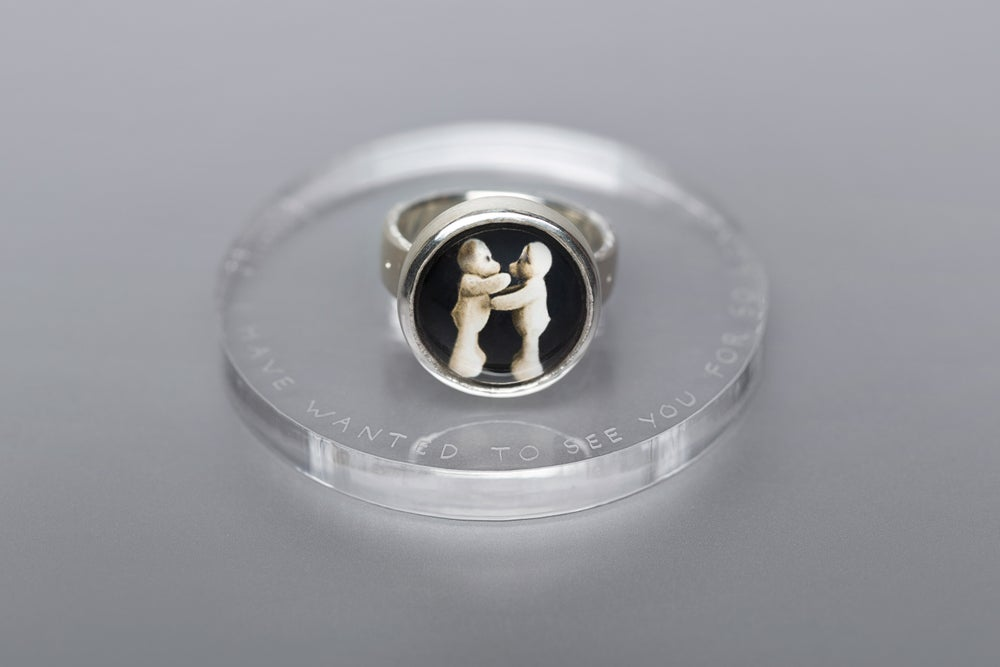 "Image of ""I have wanted.."" teddy-bear's silver ring with photo and rock crystal  · DUDUM OPTABAM.. ·"
