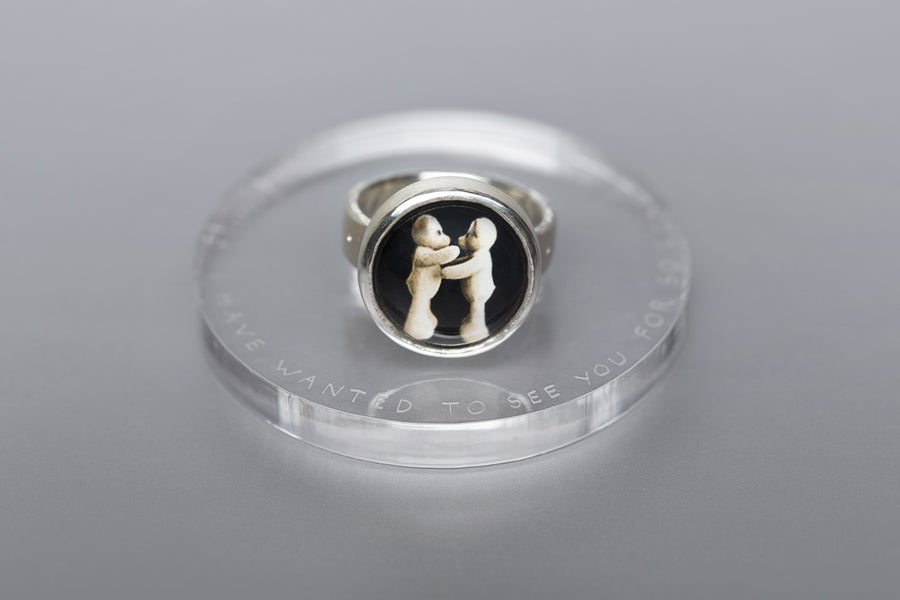 Image of teddy-bear's silver ring with photo and rock crystal DUDUM OPTABAM TE DARI