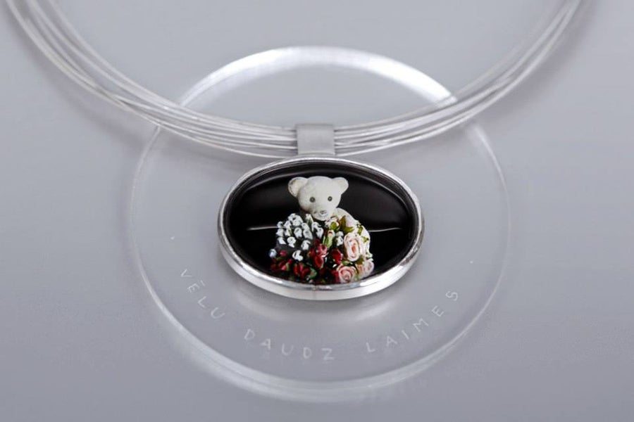 Image of teddy-bear silver pendant with photo, rock crystal PERPETUA FELICITAS FLOREAS