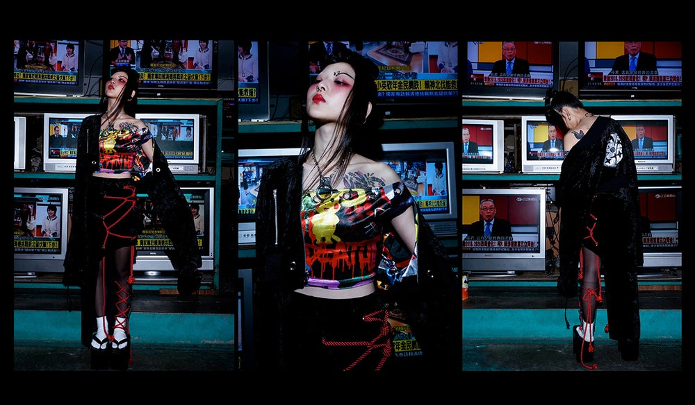 Image of DVMVGE TOKYO X' Black Shibari Velvet 2way skirt