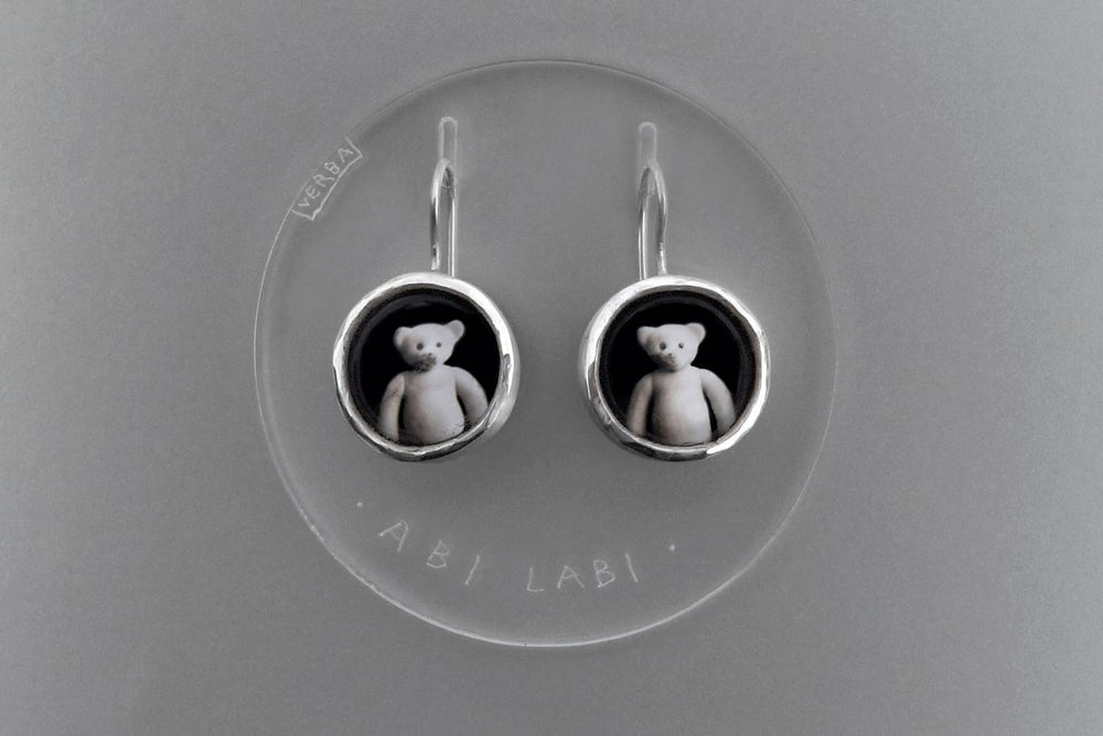 Image of teddy-bear silver earrings with photos, rock crystal AMBO MELIORES