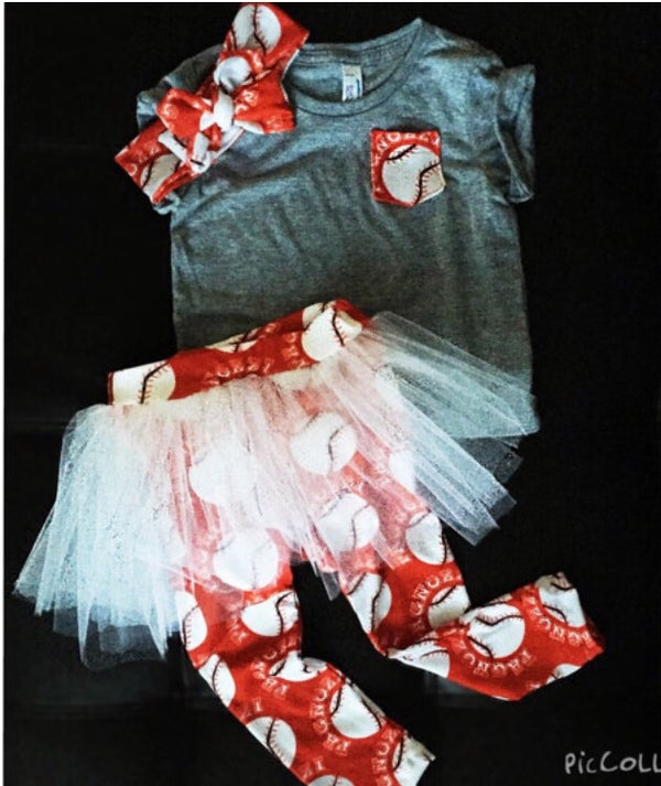 Image of Pocket Shirt and Tutu Skirted Leggings - Baseball