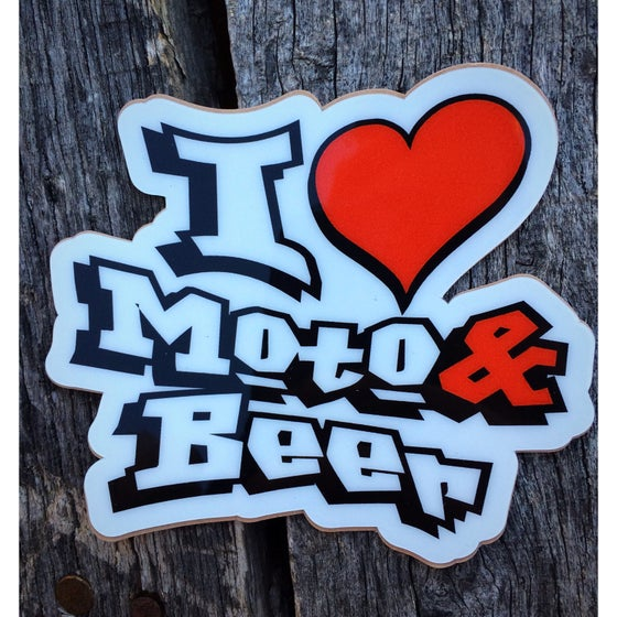Image of I Love Moto & Beer Decal