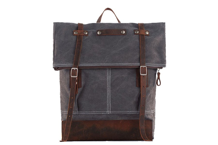 Image of Waxed Canvas Backpack with Leather Trim, School Backpack, Rucksack 1004