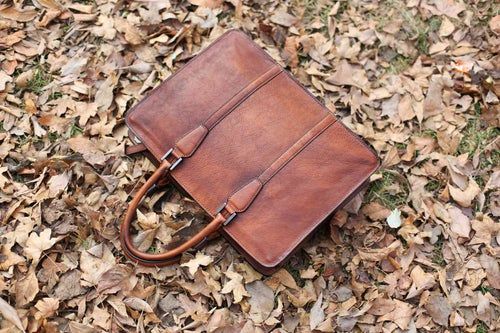 Image of Handmade Vintage Full Grain Leather Briefcase, Laptop Bag, Men's Handbag NZ02